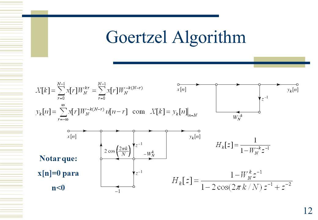 Goertzel Algorithm Notar que: x[n]=0 para n<0